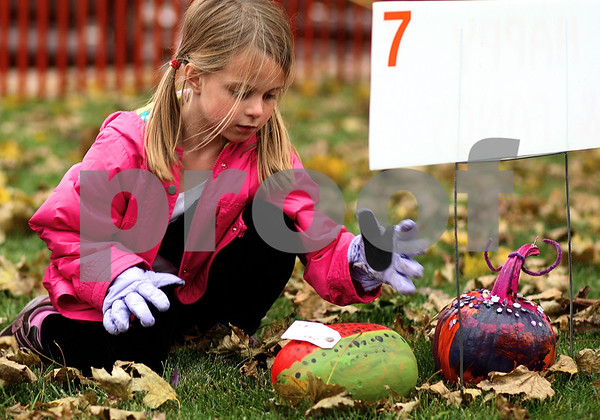 Kyle Bursaw – kbursaw@shawmedia.com<br /> <br /> Nikki Pitstick, 6, places her pumpkin painted as a watermelon on the DeKalb County Courthouse lawn for the 2011 Sycamore Pumpkin Festival on Wednesday, Oct. 26, 2011.