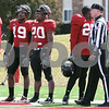 Kyle Bursaw – kbursaw@daily-chronicle.com<br /> <br /> A defensive squad looks on from the end zone during practice at Huskie Stadium on Saturday, March 26, 2011.