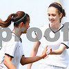 Kyle Bursaw – kbursaw@daily-chronicle.com<br /> <br /> Emma Norris (left) and Lauren Miller celebrate a goal by Norris in the first half.<br /> Sycamore defeated Ottawa 6-0 at Sycamore high school on Saturday, May 7, 2011.