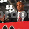 Kyle Bursaw – kbursaw@shawmedia.com<br /> <br /> New Northern Illinois men's basketball coach Mark Montgomery makes a statement about the upcoming season during the school's basketball media day at the Convocation Center on Tuesday, Oct. 25, 2011.