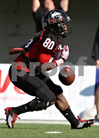 Rob Winner – rwinner@shawmedia.com<br /> <br /> Northern Illinois kick returner Tommylee Lewis (80) fumbles a kick off but eventually recovered the ball during the first quarter in DeKalb, Ill., on Saturday, Oct. 15, 2011. Northern Illinois defeated Western Michigan, 51-22.