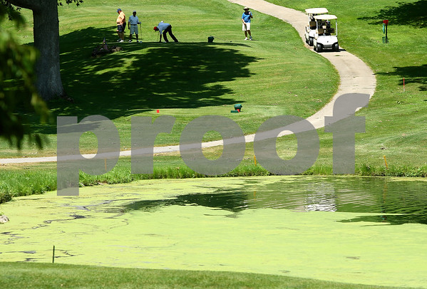 Kyle Bursaw – kbursaw@daily-chronicle.com<br /> <br /> A group of golfers prepares to tee off at the sixth hole of Indian Oaks Country Club in Shabbona, Ill. on Tuesday, July 12, 2011.