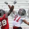 Rob Winner – rwinner@daily-chronicle.com<br /> <br /> Jordan Delegal (29) and Nathan Palmer get ready for practice to begin on Friday, Aug. 5, 2011, at Huskie Stadium in DeKalb, Ill.