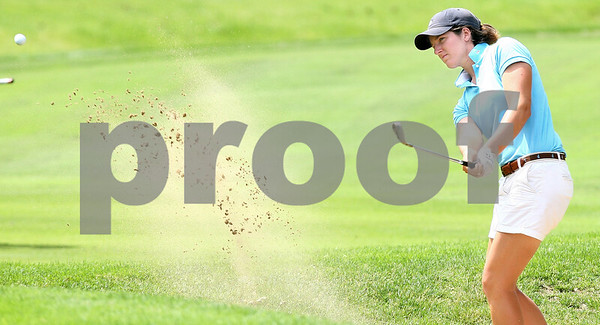 Kyle Bursaw – kbursaw@daily-chronicle.com<br /> <br /> Nora Lucas hits her ball out of the sand at Kishwaukee Country Club on Friday, June 17, 2011. Brittany Atterbury defeated Nora Lucas to win the final match of the 2011 Illinois State Women's Amateur Championship.