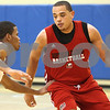 Kyle Bursaw – kbursaw@shawmedia.com<br /> <br /> Freshman Jeremiah Jackson (left) defends senior Tim Toler (right) while running drills during practice at the NIU Student Recreation Center on Tuesday, Nov. 8, 2011.