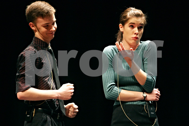 Rob Winner – rwinner@daily-chronicle.com<br /> <br /> Derek Neff (left), 17, and Grace Schaffer, 17, of the DeKalb High School Forensics perform at the DeKalb Education Foundation Comedy Night 2011 on Friday at the Egyptian Theatre.