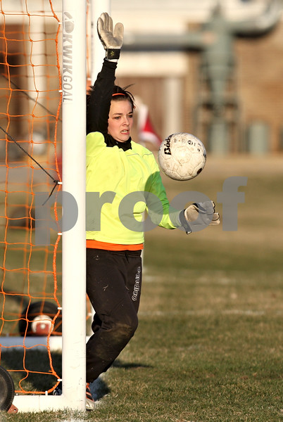 Rob Winner – rwinner@daily-chronicle.com<br /> <br /> DeKalb goalkeeper Maddie Frye makes a save during the second half in DeKalb, Ill., on Monday, March 28, 2011. Boylan defeated DeKalb, 3-0.
