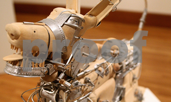 Kyle Bursaw – kbursaw@shawmedia.com<br /> <br /> This sculpture, called 'Model for Laboratory Test Dog' made in 2011 of wood and aluminum is part of the 'In the Studio and in the Garden: John Balsley Sculpture and Collage' collection in the NIU art museum.<br /> <br /> Tuesday, Sept. 13, 2011.