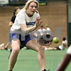 Rob Winner – rwinner@daily-chronicle.com<br /> <br /> DeKalb's Mackenzie Johnson fields a bunt during softball practice at the DeKalb Park District Sports and Recreation Center on Tuesday, March 8, 2011.