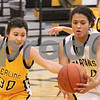 Kyle Bursaw – kbursaw@daily-chronicle.com<br /> <br /> Sterling's Steph Echebarria (30) tries to steal the ball away from Sycamore's Olivia Rand (34) in the first half of the game between Sycamore and Sterling at Sycamore high school on Tuesday, Jan. 4, 2011.