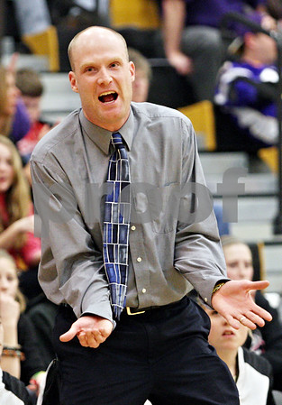 Rob Winner – rwinner@daily-chronicle.com<br /> <br /> Sycamore coach Ryan Picolotti reacts to a call that went against the Spartans during the third quarter in Sycamore, Ill.,  on Wednesday, Feb. 16, 2011. Hampshire would go on to defeat Sycamore, 57-41, during the IHSA Class 3A Sycamore Regional.