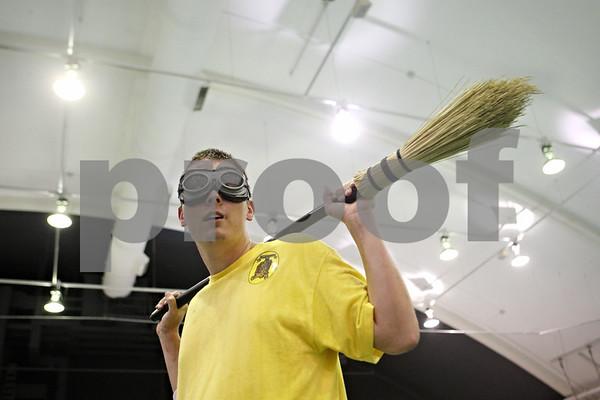 Rob Winner – rwinner@shawmedia.com<br /> <br /> Randy Bergman, a senior at Northern Illinois University, takes break between drills during an NIU Quidditch team practice at the Chick Evans Field House in DeKalb, Ill., on Wednesday, Sept. 21, 2011.
