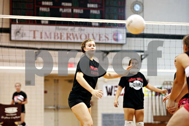 Rob Winner – rwinner@daily-chronicle.com<br /> <br /> Kate Thuestad and her Indian Creek teammates work out during practice on Friday, Aug. 12, 2011, in Shabbona, Ill.