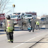 Rob Winner – rwinner@daily-chronicle.com<br /> <br /> An accident scene involving three vehicles is cleaned up at the intersection of Route 23 and Derby Line Road in Genoa on Friday afternoon.