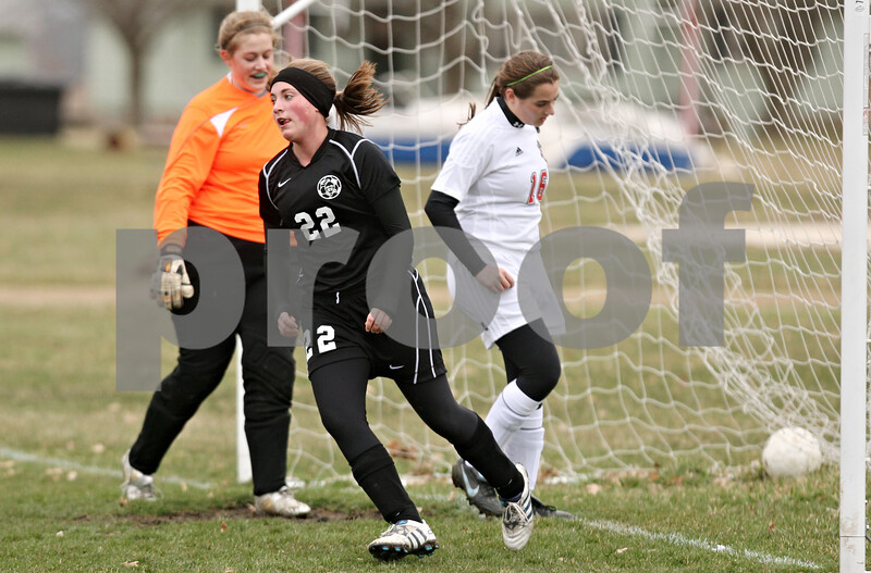 Rob Winner – rwinner@daily-chronicle.com<br /> <br /> Kaneland's Abby Bend (22) scores knocks in a goal during the first half on Monday, April 4, 2011, in Waterman, Ill. Kaneland defeated Indian Creek, 5-0.