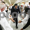 Rob Winner – rwinner@daily-chronicle.com<br /> <br /> Training supervisor Stephanie Taylor is greeted by employees at the new Hy-Vee location in Sycamore before a meeting on Monday afternoon. There are 470 employees at the Sycamore location.