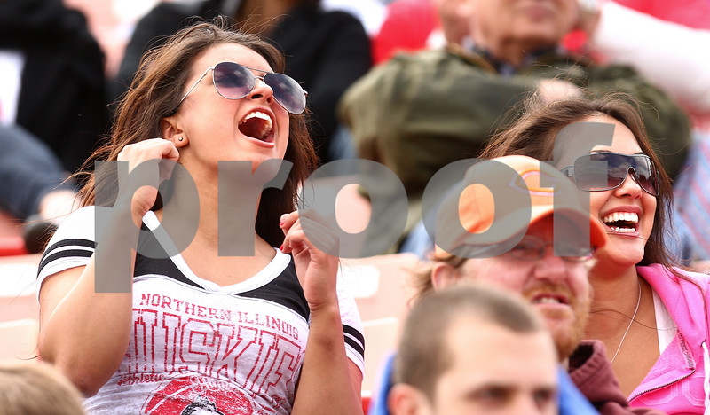 Kyle Bursaw – kbursaw@daily-chronicle.com<br /> <br /> NIU fans Marisa Liptak (left) and Tanya Rachan (right) cheer on the team during the annual spring football game at Huskie Stadium on Saturday, April 23, 2011.