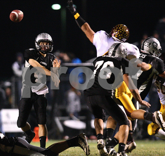 Kyle Bursaw – kbursaw@shawmedia.com<br /> <br /> Kaneland quarterback Drew David fires for a completion during the second quarter at Kaneland High School in Maple Park, Ill. on Saturday, Nov. 19, 2011. Montini defeated Kaneland 35-31 in the Class 5A semifinal.
