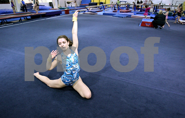 Rob Winner – rwinner@daily-chronicle.com<br /> <br /> Emily Stuebing practices her floor exercises on Monday afternoon at Energym in Sycamore.