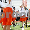 Rob Winner – rwinner@daily-chronicle.com<br /> <br /> Coach Marty Sanders instructs his players during the first day of practice on Wednesday, Aug. 10, 2011, at the new DeKalb High School.