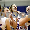 Rob Winner – rwinner@daily-chronicle.com<br /> <br /> Hinckley-Big Rock's Tess Godhardt celebrates with her teammates after Monday night's 37-36 victory over DeKalb.