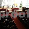 Jeff Engelhardt - jengelhardt@shawmedia.com<br /> Pastor Gary Erickson leads a Christmas Day service Sunday at Bethlehem Evangelical Lutheran Church. Erickson urged congregants to take joy in being children of God this holiday season.