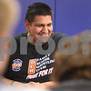 "Kyle Bursaw – kbursaw@daily-chronicle.com<br /> <br /> Heriberto ""Eddie"" Avila cracks a smile while talking with the Genoa-Kingston wrestling team. Despite the accident that led him to the loss of part of his left leg, he maintains a positive attitude and still plans to accomplish many things. One of those goals is to walk across the stage during graduation.<br /> <br /> Wednesday, Feb. 23, 2011."