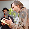 "Rob Winner – rwinner@daily-chronicle.com<br /> <br /> Director Scott Morris goes through the script of ""Waiting for Godot"" with his cast members during a rehearsal at Northern Illinois University in Dekalb on Thursday evening."