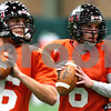 Kyle Bursaw – kbursaw@shawmedia.com<br /> <br /> Quarterbacks Matt McIntosh (16) and<br /> Jordan Lynch (6) do a footwork drill during practice at the DeKalb Recreation Center on Wednesday, Dec. 14, 2011.