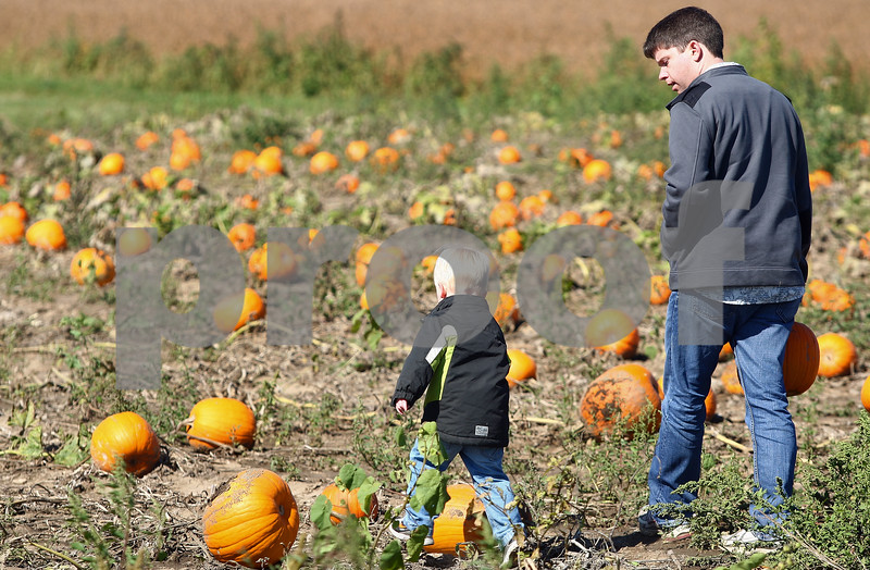 Kyle Bursaw – kbursaw@shawmedia.com<br /> <br /> Russell McAbery (right) and his two-year-old son Pryor walk through the pumpkin patch at Honey Hill Orchard in Waterman, Ill. on Saturday, Oct. 1, 2011.