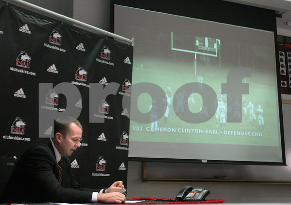 Kyle Bursaw – kbursaw@daily-chronicle.com<br /> <br /> Northern Illinois Football Head Coach Dave Doren introduces the 2011 recruiting class to the media by showing highlight reels of each of the players in DeKalb, Ill. on Wednesday, Feb. 2, 2011.
