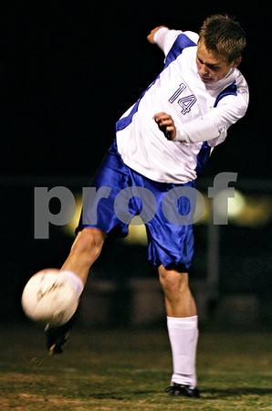 Rob Winner – rwinner@shawmedia.com<br /> <br /> Hinckley-Big Rock's Billy Weissinger clears a from his team's half of the field during a match in Hinckley, Ill., on Tuesday, Oct. 18, 2011.