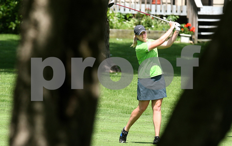 Kyle Bursaw – kbursaw@daily-chronicle.com<br /> <br /> Brittany Atterbury shoots from the fairway in the back nine at Kishwaukee Country Club on Friday, June 17, 2011. Brittany Atterbury defeated Nora Lucas to win the final match of the 2011 Illinois State Women's Amateur Championship.
