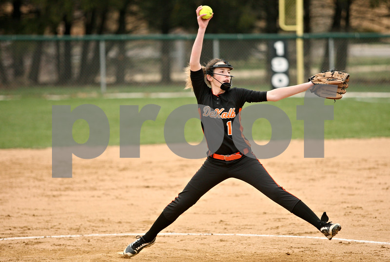 Rob Winner – rwinner@daily-chronicle.com<br /> <br /> DeKalb's Katie Kowalski delivers a pitch during the second inning in Maple Park, Ill. on Thursday, April 7, 2011. DeKalb defeated Kaneland, 15-4, in six innings.