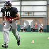 Kyle Bursaw – kbursaw@shawmedia.com<br /> <br /> Northern Illinois wide receiver Willie Clark does a footwork drill during practice at the DeKalb Recreation Center on Wednesday, Dec. 14, 2011.