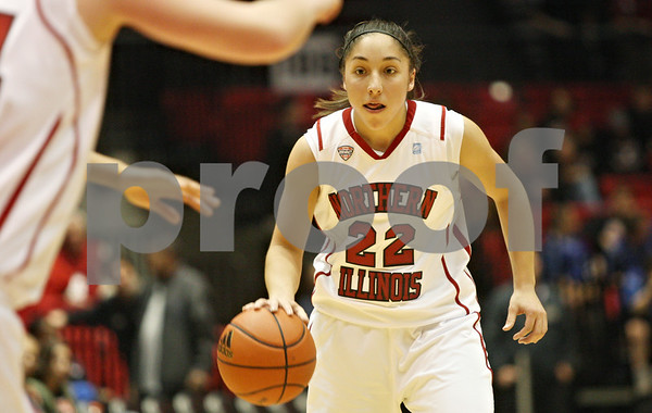 Rob Winner – rwinner@shawmedia.com<br /> <br /> Northern Illinois freshman guard Amanda Corral controls the ball during a game against the University of Illinois-Chicago on Wednesday, Dec. 14, 2011, in DeKalb, Ill.