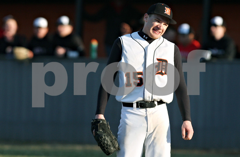 Rob Winner – rwinner@daily-chronicle.com<br /> <br /> DeKalb reliever Jeremy Karasewski reacts after Huntley scores their fifth run of the top of the seventh inning on Wednesday, March 30, 2011 in DeKalb, Ill. Huntley defeated DeKalb, 11-8.