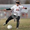 Rob Winner – rwinner@daily-chronicle.com<br /> <br /> Indian Creek's Gretchen Tyler moves the ball during the first half in Waterman, Ill., on Thursday, March 24, 2011. Hiawatha defeated Indian Creek, 3-1.