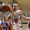 Rob Winner – rwinner@daily-chronicle.com<br /> <br /> Indian Creek's Anna Stiker controls a rebound under the Hinckley-Big Rock basket during the first quarter in Shabbona, Ill. on Monday, January 10, 2011.