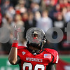 Rob Winner – rwinner@shawmedia.com<br /> <br /> Northern Illinois kick returner Tommylee Lewis points to the sky before a kickoff during the first quarter in DeKalb, Ill., on Friday, Nov. 25, 2011. Northern Illinois defeated Eastern Michigan, 18-12.
