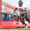 Kyle Bursaw – kbursaw@daily-chronicle.com<br /> <br /> Running back Jamal Womble navigates a series of obstacles during practice at Huskie Stadium on Saturday, April 2, 2011.