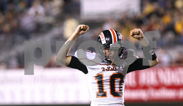 Kyle Bursaw – kbursaw@shawmedia.com<br /> <br /> DeKalb's Brian Sisler celebrates a touchdown during the 4th quarter of the annual DeKalb and Sycamore football game at Huskie Stadium in DeKalb, Ill. on Friday, September 9, 2011.