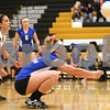 Kyle Bursaw – kbursaw@shawmedia.com<br /> <br /> Genoa-Kingston's Jordan Rich digs the ball during the Cogs Class 3A Regional Quarterfinal match against Hampshire at Sycamore High School on Monday, Oct. 24, 2011.