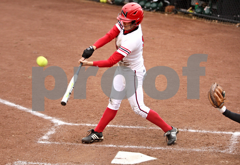 Rob Winner – rwinner@daily-chronicle.com<br /> <br /> Northern Illinois' Stephanie Tofft connects for a double and drives in a run during the second inning on Friday, April 1, 2011, in DeKalb, Ill. NIU went on to defeat Eastern Michigan in the first game of a doubleheader, 8-6.