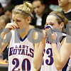 Rob Winner – rwinner@daily-chronicle.com<br /> <br /> Hinckley-Big Rock seniors Tess Godhardt (left) and Alyssa Baunach react after the IHSA Class 1A DeKalb Super-Sectional on Monday February 21, 2011 in DeKalb, Ill. River Ridge-Scales Mound defeated Hinckley-Big Rock, 43-28.