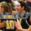 Kyle Bursaw – kbursaw@shawmedia.com<br /> <br /> Sycamore players including Brittany Huber (10) and Hannah Knox (6) celebrate a point giving them a lead over Burlington Central in the Class 3A Volleyball Sycamore Regional Semifinal atSycamore High School on Tuesday, Oct. 25, 2011.