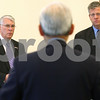 Kyle Bursaw – kbursaw@shawmedia.com<br /> <br /> Congressmen Don Manzullo (left) and Randy Hultgren listen to the questions of a businessman (center) during a closed discussion hosted by the DeKalb County Economic Development Corporation at the Farm Bureau in Sycamore, Ill. on Thursday, Nov. 10, 2011.