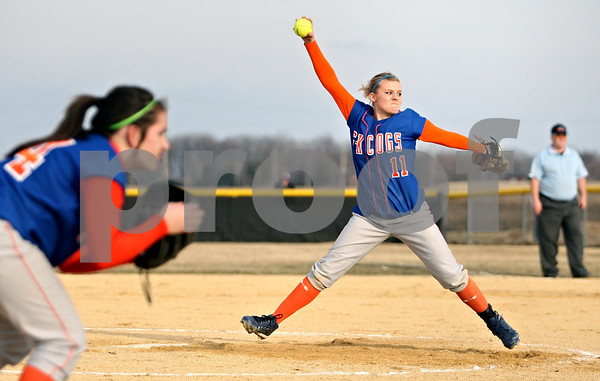 Rob Winner – rwinner@daily-chronicle.com<br /> <br /> Genoa-Kingston pitcher Ashley Miller delivers a pitch during the third inning in Shabbona, Ill., while facing Indian Creek on Wednesday, March 16, 2011. Genoa-Kingston defeated Indian Creek, 26-1.
