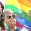 Kyle Bursaw – kbursaw@daily-chronicle.com<br /> <br /> Molly Holmes (left) and Cara Vandermyde participate in a song to open the civil union celebration in front of the DeKalb County Courthouse in Sycamore, Ill. on Friday, July 15, 2011.