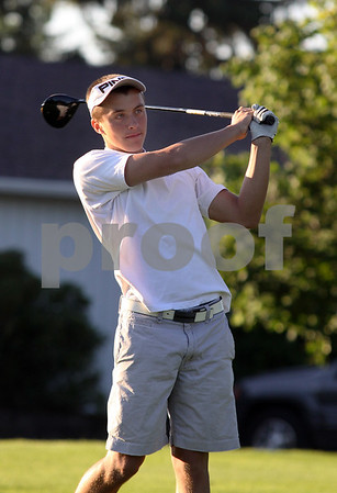 Wendy Kemp - For The Daily Chronicle<br /> Jon Nugent watches his drive during practice at the Sycamore Golf Club on Thursday.<br /> Sycamore 8/11/11